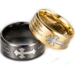*COI Titanium Black/Gold Tone Silver Cross Scripture Beveled Edges Ring-5889