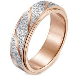 *COI Titanium Rose/Gold Tone/Rainbow Pride Silver Grooves Step Edges Ring-5890