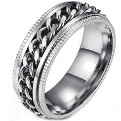 *COI Titanium Rose/Black/Silver Keychain Link Step Edges Ring-5893