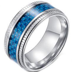 *COI Titanium Step Edges Ring With Black/Blue Carbon Fiber-5894
