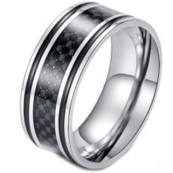 *COI Titanium Black Silver Ring With Carbon Fiber/Wood-5898