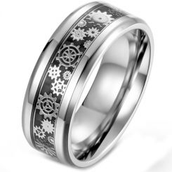 *COI Titanium Gears Beveled Edges Ring With Carbon Fiber-5899