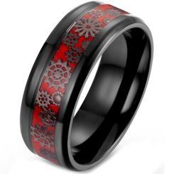 *COI Titanium Black Red Gears Beveled Edges Ring-5900