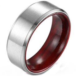 *COI Titanium Beveled Edges Ring With Wood-5902