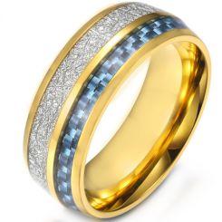 *COI Titanium Gold Tone/Silver Meteorite & Carbon Fiber Dome Court Ring-5904