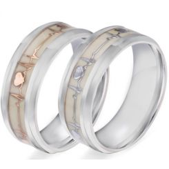 *COI Titanium Gold Tone/Silver Heartbeat & Heart Luminous Beveled Edges Ring-5906