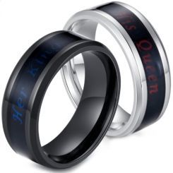 *COI Titanium Black/Silver Her King His Queen Beveled Edges Ring-5908