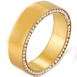 *COI Gold Tone Titanium Ring With Cubic Zirconia-5910