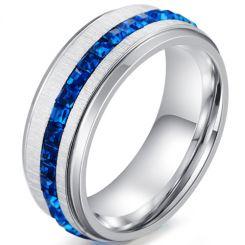 *COI Titanium Step Edges Ring With Created Blue Sapphire-5911