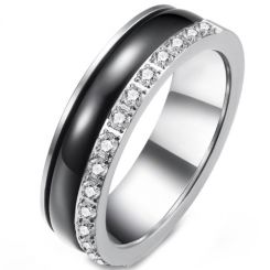 *COI Titanium Black Silver Ring With Cubic Zirconia-5913