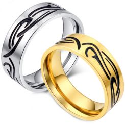 *COI Titanium Black Gold Tone/Silver Celtic Pipe Cut Flat Ring-5916