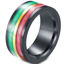 *COI Black Titanium Red Yellow Green Resin Ring-5918