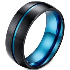 *COI Titanium Black Blue Center Groove Dome Court Ring-5921