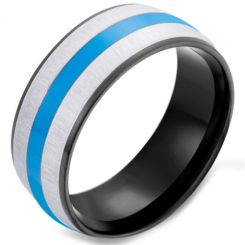 *COI Titanium Black Blue Silver Dome Court Ring-5922