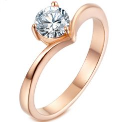 *COI Titanium Rose/Silver/Gold Tone Solitaire Ring With Cubic Zirconia-5923
