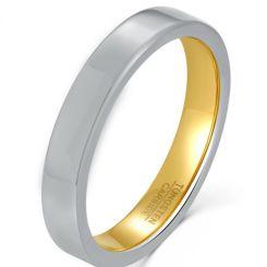 COI Tungsten Carbide Gold Tone Silver Pipe Cut Flat Ring-5924
