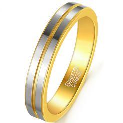COI Tungsten Carbide Gold Tone Silver Center Groove Ring-5925