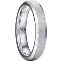 COI Tungsten Carbide Sandblasted Beveled Edges Ring-5927