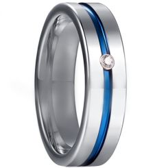 *COI Tungsten Carbide Blue Silver Center Groove Ring With Cubic Zirconia-5929