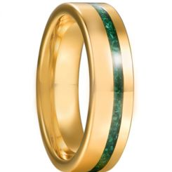 *COI Gold Tone Tungsten Carbide Green Malachite Pipe Cut Flat Ring-5937