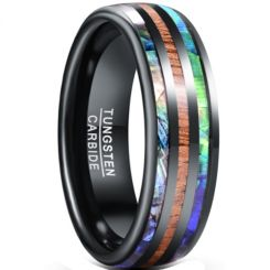 *COI Black Tungsten Carbide Abalone Shell & Wood Dome Court Ring-5940