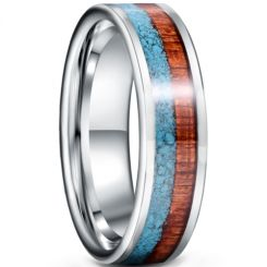 *COI Tungsten Carbide Turquoise & Wood Pipe Cut Flat Ring-5943