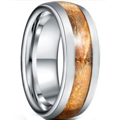 *COI Tungsten Carbide Dome Court Ring With Wood-5944