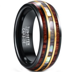 *COI Tungsten Carbide Black Gold Tone Abalone Shell & Wood Dome Court Ring-5951