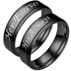 *COI Black Tungsten Carbide His Always Her Forever Beveled Edges Ring-5953