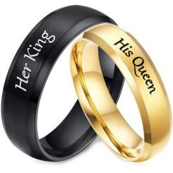 *COI Tungsten Carbide Black/Gold Tone Her King His Queen Beveled Edges Ring-5954