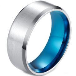 *COI Titanium Blue Silver Beveled Edges Ring-5955