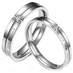 *COI Titanium Love Never Fails Grooves Ring With Cubic Zirconia-5957