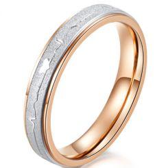 *COI Titanium Rose Silver Heartbeat & Heart Ring-5962