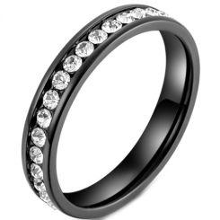 *COI Titanium Black/Gold Tone/Silver Ring With Cubic Zirconia-5966