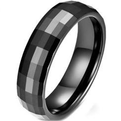 *COI Black Titanium Faceted Ring-5967
