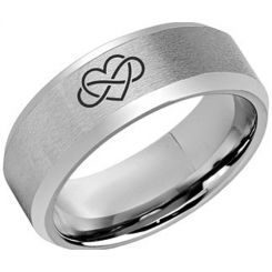 *COI Tungsten Carbide Infinity Heart Beveled Edges Ring-5973