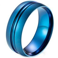 *COI Titanium Black/Blue Center Groove Dome Court Ring-5987