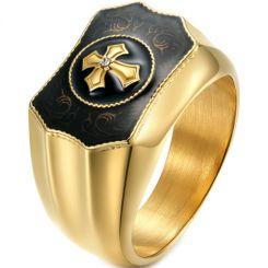 *COI Titanium Black/Gold Tone Silver Cross Ring With Cubic Zirconia-5990