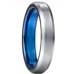 *COI Tungsten Carbide Blue Silver Beveled Edges Ring-6004