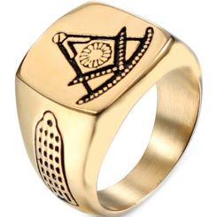 *COI Titanium Black Gold Tone Masonic Ring-6011