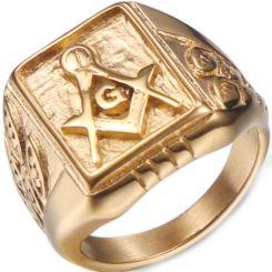 *COI Gold Tone Titanium Masonic Ring-6015