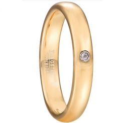 *COI Gold Tone Tungsten Carbide Dome Court Ring With Cubic Zirconia-6020