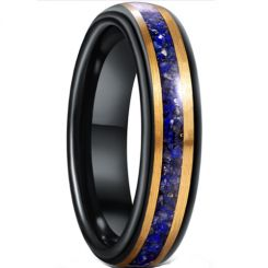 *COI Tungsten Carbide Black Gold Tone Crushed Opal Step Edges Ring-6024
