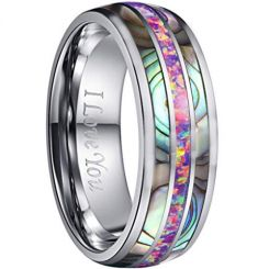 COI Tungsten Carbide Abalone Shell & Crushed Opal Dome Ring-TG612
