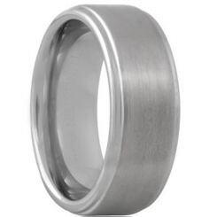 **COI Titanium Step Edges Polished Shiny Matt Wedding Band Ring - JT055A