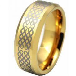 COI Gold Tone Titanium Celtic Beveled Edges Ring-636AA
