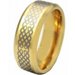 COI Gold Tone Tungsten Carbide Celtic Beveled Edges Ring-TG2832A