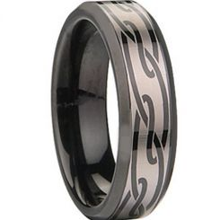 COI Black Tungsten Carbide Celtic Beveled Edges Ring-TG674