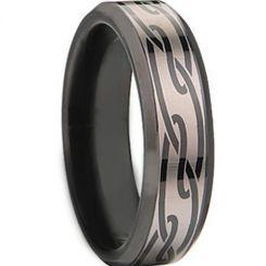 COI Titanium Black Silver Celtic Beveled Edges Ring-1534