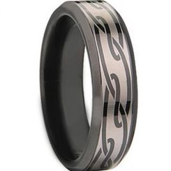 COI Black Tungsten Carbide Celtic Beveled Edges Ring-TG674